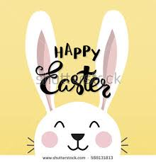 rabbit poster typographic easter poster easter bunny stock vector 588131813