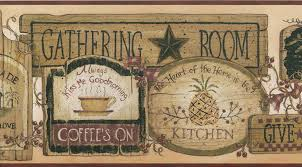 country primitive wall border gathering room signs wallpaper