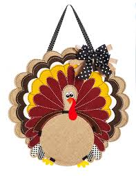 burlap thanksgiving turkey monogram door hanger i americas flags