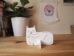 white cat desk ornament desk pet laser cut cat purple