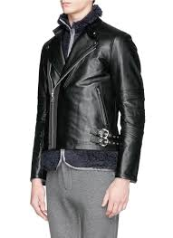 leather biker vest sacai detachable vest leather biker jacket in black for men lyst