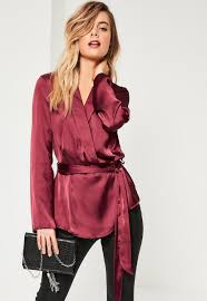 belted blouse this silky satin in a wrap belted style will take you