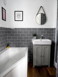our brand new bathroom renovation grey subway tiles bathroom