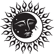 celestial sun and moon black and white inspiration