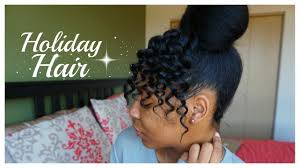 natural hair bun styles with bang faux curly bangs high bun natural hair t keyah b youtube