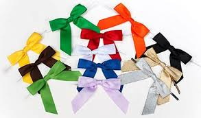 pre bows satin bows pre built in twist ties 12 colors clearbags