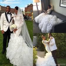 luxury african 2016 sheer jewel neck wedding dresses long sleeve