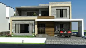 front elevation modern house front single story rear 2 stories