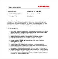 Channel Sales Manager Resume Sample by 11 Sales Manager Job Description Templates U2013 Free Sample Example