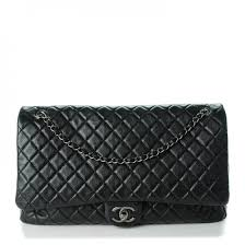 Chanel calfskin xxl travel flap bag black 130694