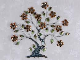 deko baum wand wand deko baum blüten aus metall breite 63cm höhe 59cm silber
