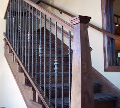 Wood Banisters Wood Railing With Wrought Iron Balusters Traditional Staircase