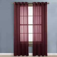 Sheer Maroon Curtains Nicetown Sheer Curtains Voile Curtains Pair Of Drapes