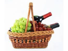 wine grapes wicker basket food drinks