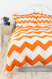 orange and white chevron stripe bedding with pillow covers with