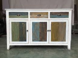 Distressed White Table Rustic Distressed White Furniture With Multi Color Drawers Doors