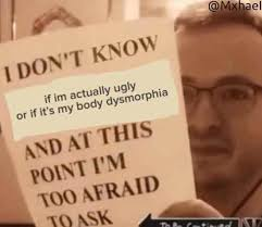 Meme Ugly - i don t know if i m actually ugly or if it s my body dysmorphia