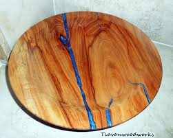pecan wood bowl with electric blue epoxy resin inlay wood