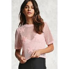 light pink top women s forever21 sheer netted star patch top 15 liked on polyvore