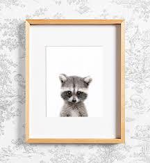 Raccoon Nursery Decor Raccoon Print Woodland Animals Printable Nursery Decor
