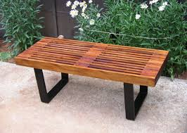 Mid Century Modern Patio Furniture Mid Century Modern Mahogany George Nelson Style Garden Bench