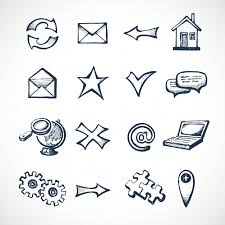 sketch infographic icons set with globe clock computer puzzle