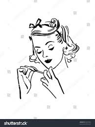 lady doing her nails retro clip stock vector 58679902 shutterstock