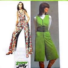 1970s jumpsuit one pc jumpsuit midi or maxi length 1970s pattern jiffy