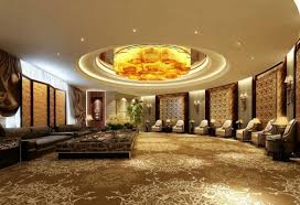 circular reception hall decorating ideas with luxury false ceiling