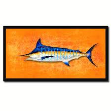 Home Blue Fish Fish Art Orange Home Decor Wall Decoration Nautical Beach