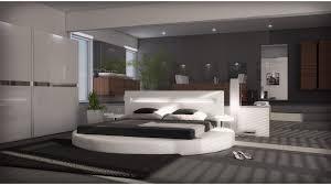 chambre avec lit rond lit rond design 160x200 en simili blanc avec éclairage uster