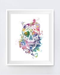 day of the dead home decor sugar skull art print day of the dead watercolor skull