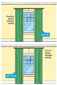 Easy Way To Hang Curtains Decorating Hang Curtains Higher Than The Windows To Make Room Look Bigger