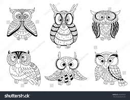 cartoon colorless forest owls funny owlets stock vector 362637629