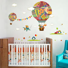 Nursery Decor Wall Stickers Colorful Flying Air Balloon Nursery Room Decor Wall Sticker