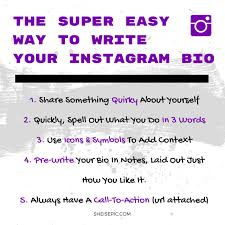 the super easy way to write your instagram bio u2014 she is epic inc