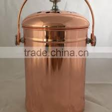 1 gallon copper plated kitchen stainless steel compost bin warm
