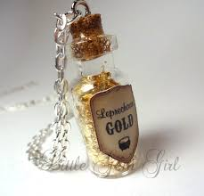 glass bottle necklace images Little gem girl leprechaun mini gold glass bottle necklace jpeg