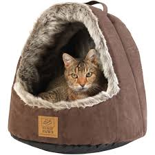 Hooded Dog Bed House Of Paws Arctic Tipped Dyed Faux And Suede Hooded Cat Bed
