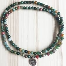 bracelet necklace images Indian agate mala bracelet necklace 108 beads prana heart JPG