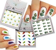 amazon com nail art water tattoo nail art stickers peacock