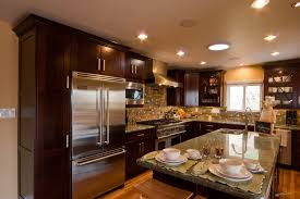 Kitchen With L Shaped Island Glossy Wooden Kitchen Cabinet With Rectangle L Shaped Island