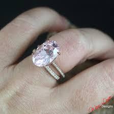 Custom Celebrity Light Pink White Sapphire Engagement Ring