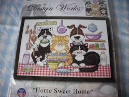 counted cross stitch kit home sweet home cats dogs design