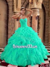 dresses for a quinceanera turquoise floor length gown ruffled dress for quince
