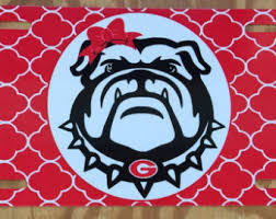 Georgia Bulldog Rugs Uga Georgia Bulldogs Red Black Paisley Metal Car Tag