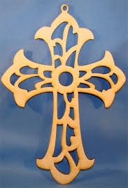 cross with scroll work wood cutout 7 x 4 75 package of 10 wood
