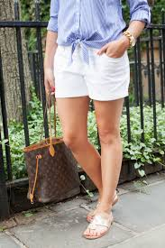 casual preppy tie front blouse white jean shorts jack
