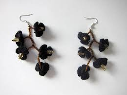 black dangle earrings black flower crochet dangle earrings discovered
