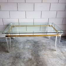 french lucite brass u0026 glass coffee table 1980s 68175